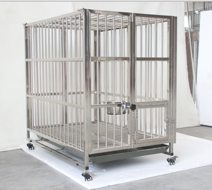 Customizable chromed luxury plastic pet cage tray folding aluminum dog trolley cage
