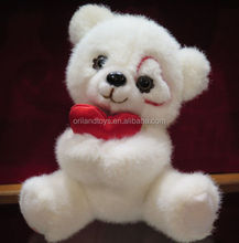 New fashion promotional plush white teddy bear with red heart