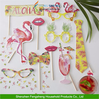 10pcs Pink Flamingo Fun Photo Booth Props Tropical Hawaiian Summer Hen Party Accessories