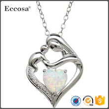 Mother and Child Opal Heart Pendant Necklace in Sterling Silver