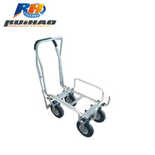 4-Wheel Hand Pull Aluminum Cart Folding Trolley Cart With Brake