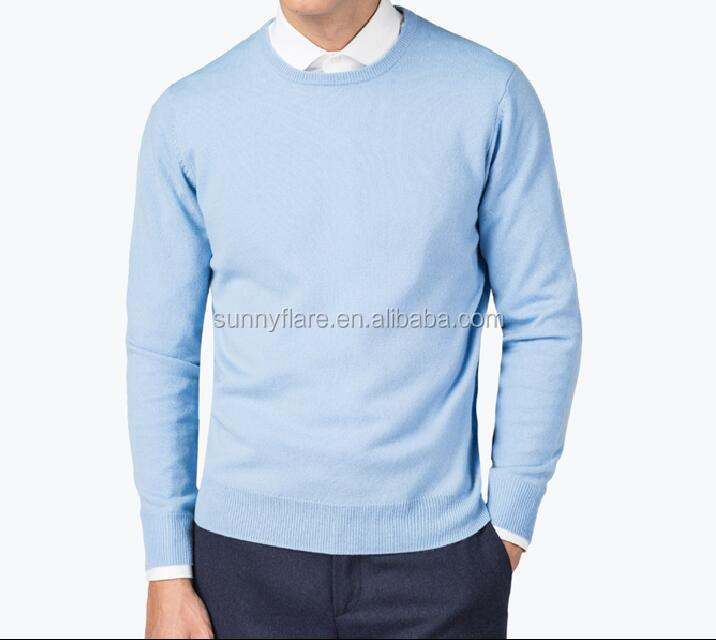 Baby Blue Fashionable Men's Fit Cashmere Sweater