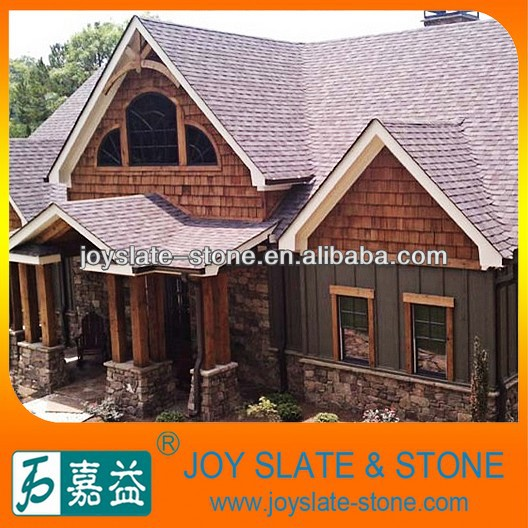 Natural slate roof tiles purple glossy