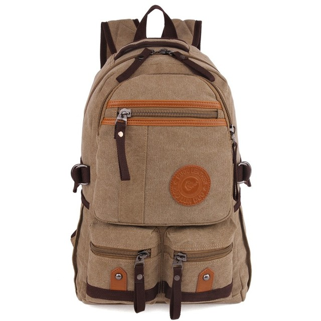 High quality 16oz canvas function stock backpack China cheap stylish fashion custom logo canvas backpack