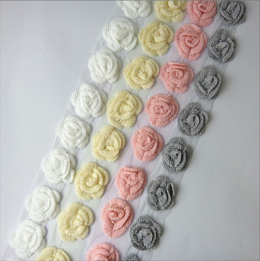 5*5cm Fancy Knitting Wool Flower Trimmings for Garment / Hat / Scarf