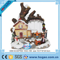 decorative christmas craft resin village house model led light