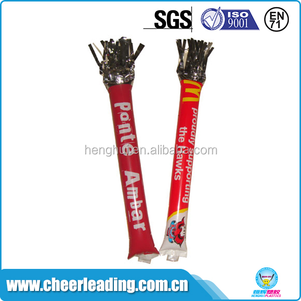 Customized logo cheering pom bang sticks pe inflatable balloon clappers