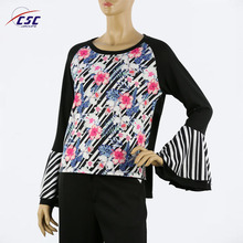 sublimation rose flower print Lotus leaf sleeve tops casual designs tops for ladies