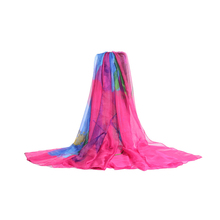 Wholesale Oversized Summer Beach Printed Chiffon Silk Wrap Shawl For Ladies