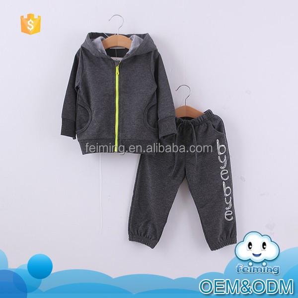 2015 autumn hot sale cute boys baby children's cloth set with bear ear hoodie& warm black pants