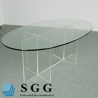 High quality Clear Tempered Oval Dining Table Top Glass