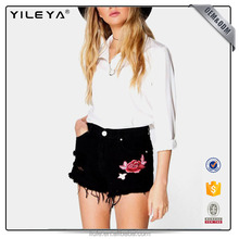 Fashionable Embroidered Denim Mom Shorts black denim Shorts