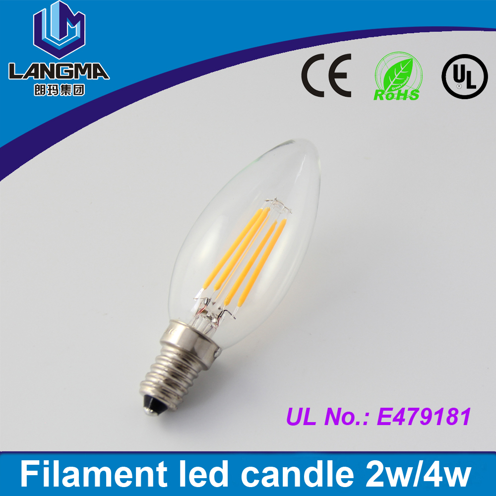 New Design LED Filament E12/E14 Bulb 2W 4W 6W AC 120V 220V 230V Dimmable Lamp Edison Glass Candle Lights Lighting For Chandelier