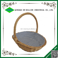 Lined woven wicker craft baskets with high handle