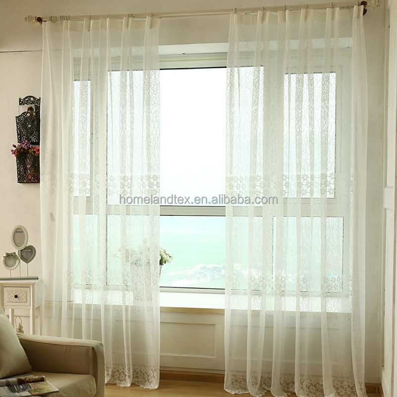luxury jacquard lace fabric ready made embroidery white sheer drape curtain