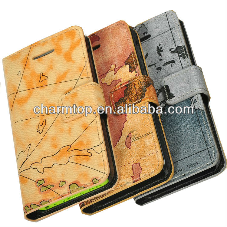 Map Design Wallet Leather Case For Apple iPhone 5C