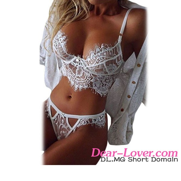 Open Ladies Sexy White Lace Temptation Two Piece Bralette Lingerie Set