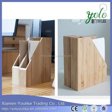Bamboo office desk organizer with note paper box/bookends book/file box stand holder