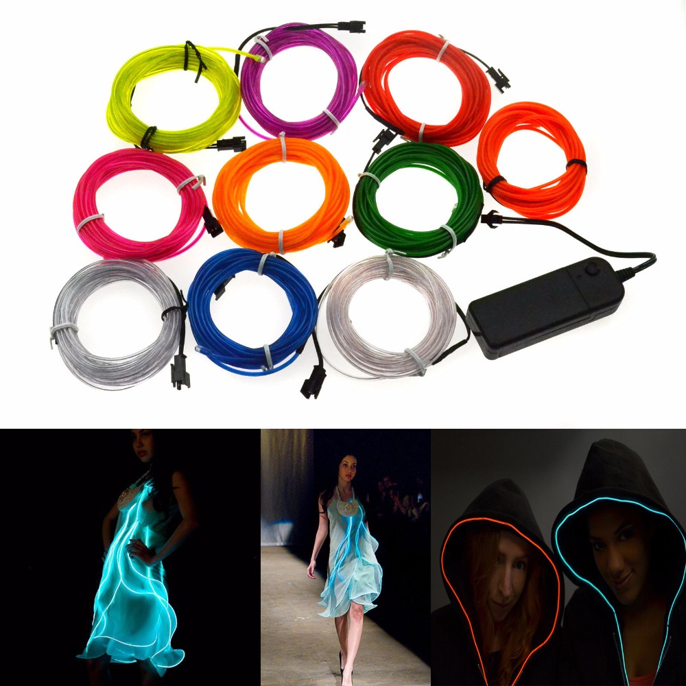 2*AA battery powered DC3V Flexible Led Neon Light Glow EL Wire Rope Tube Cable