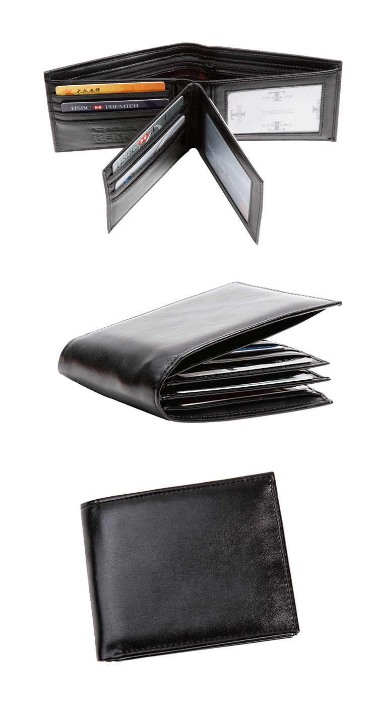 1358804 Promotion 4-folding RFID blocking genuine leather men wallet