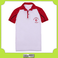 Custom white cotton embroidery polo t shirt with red raglan sleeve