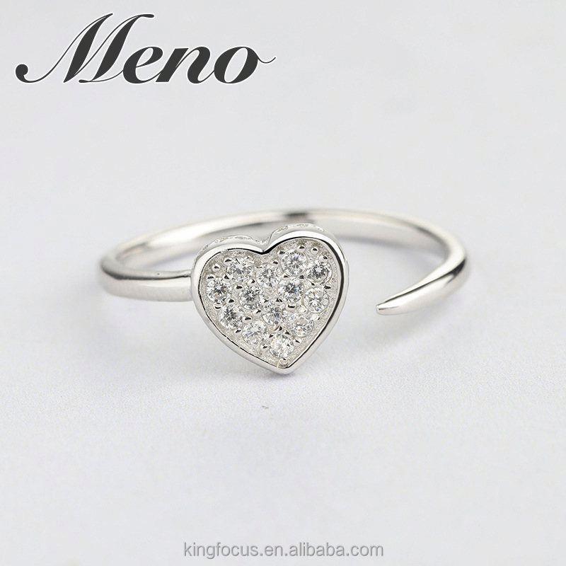 Meno S925 silver heart shaped CZ setting opening ring fashion all-match