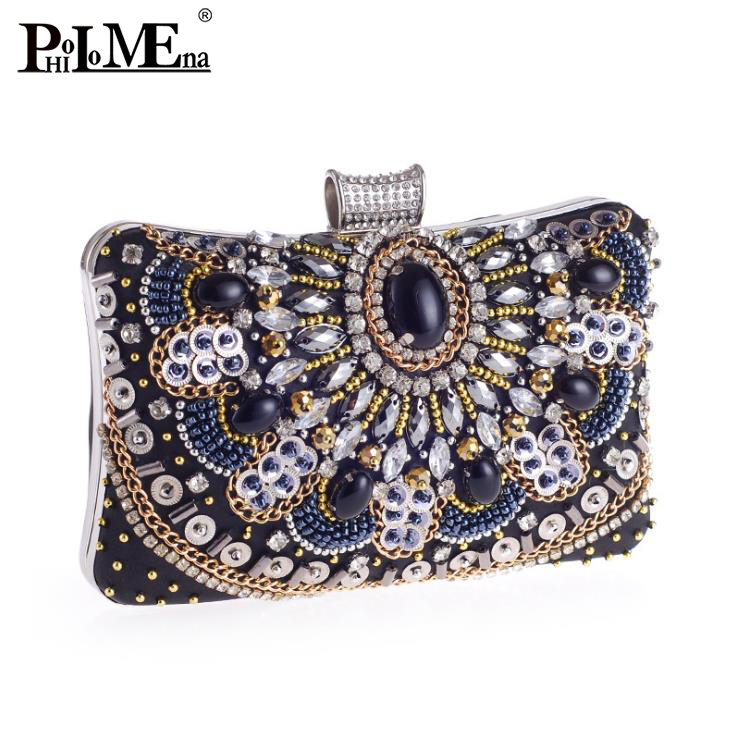 2018 latest product crystal stone ladies clutch bag fashion vintage style clutch guangzhou factory clutch bag evening