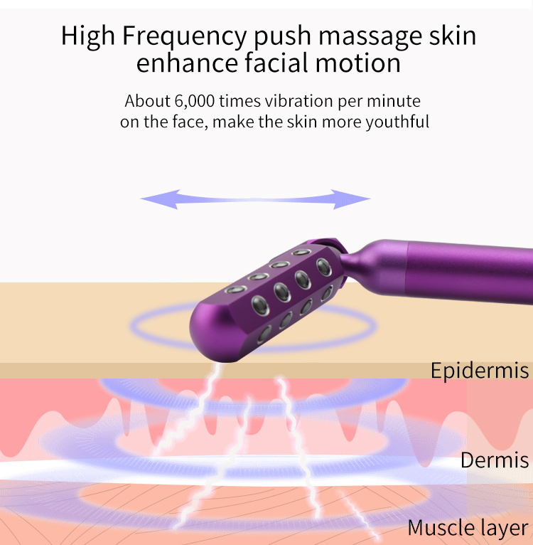 Purple Y shape  3D Electric Rotating Face Massager Wand Germanium Facial Beauty Energy Roller Bar