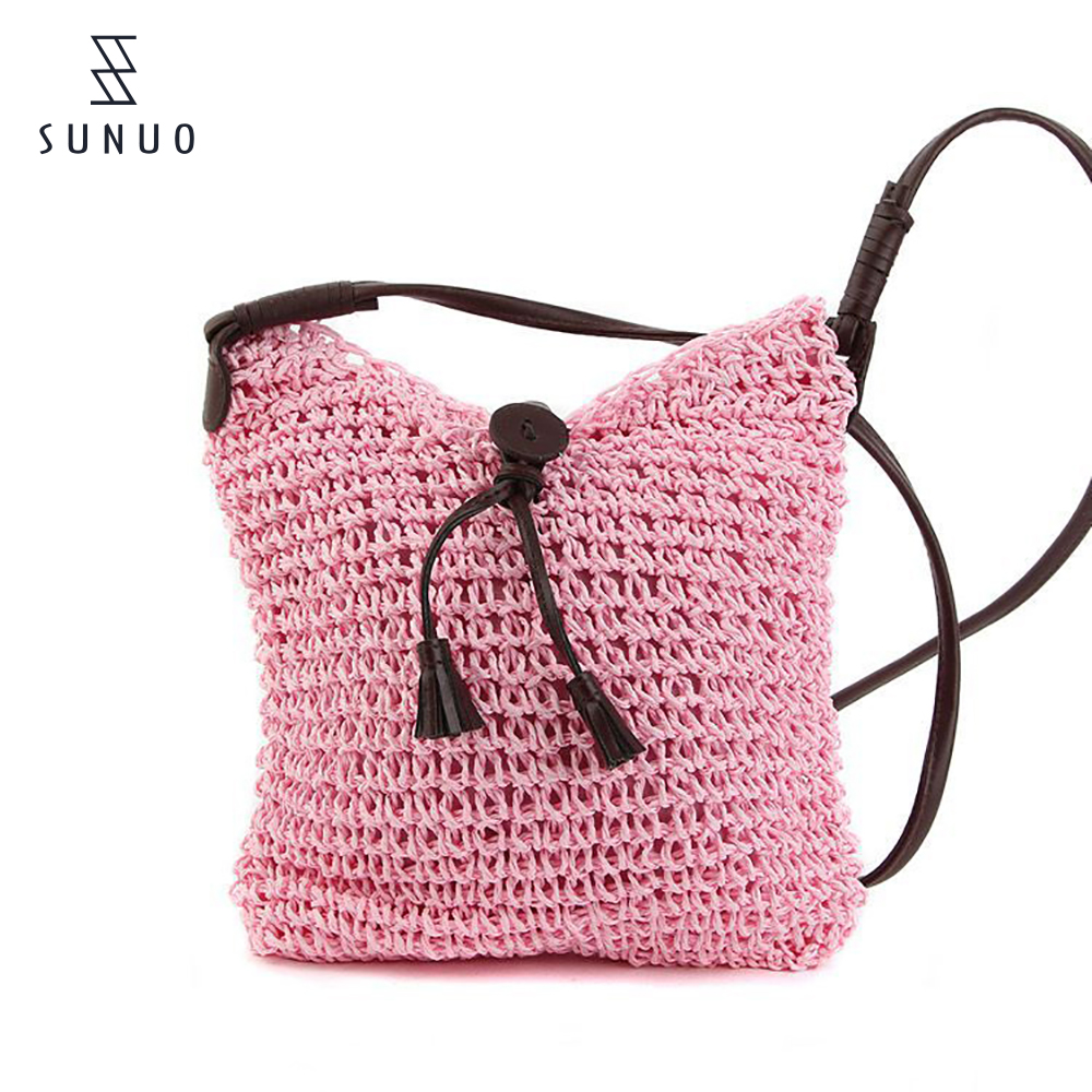 all color small paper straw beach bags totes with leather hands