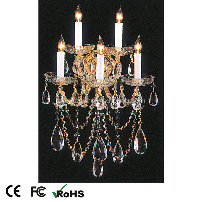 Five light hand cut crystal wall light sconce for hotel