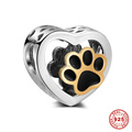Animal Footprint Enamel Heart Real 925 Sterling Silver Charm Beads For DIY European Bracelet Necklace Jewelry DSP026
