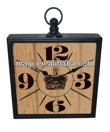 Square decorative metal retro wall clock