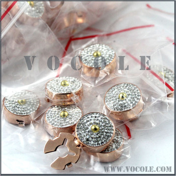 Shiny Crystal Zircons Brass round button covers for cuff of men's shirts 15/18mm