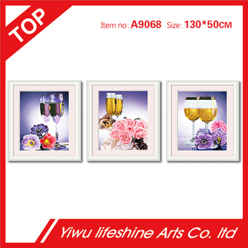 romantic flowers and red wine popular home decor hotel wall art 5D diamond painting