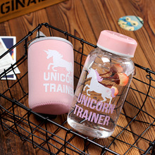 600ml Cartoon Unicorn Glass Water Bottle with Cloth Protection Cover Include Tea Infuser Christmas New Year Gifts