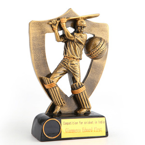 New design wholesale resin sport game figure trophy cricket trophy