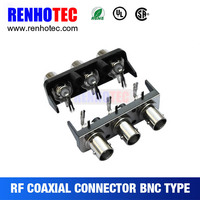90 Degree Female BNC Three connector in one row with black plastic house