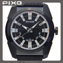 PX-15 Custom Logo slim water resistant leather strap tactical unisex black Army Style orologio stainless steel watch