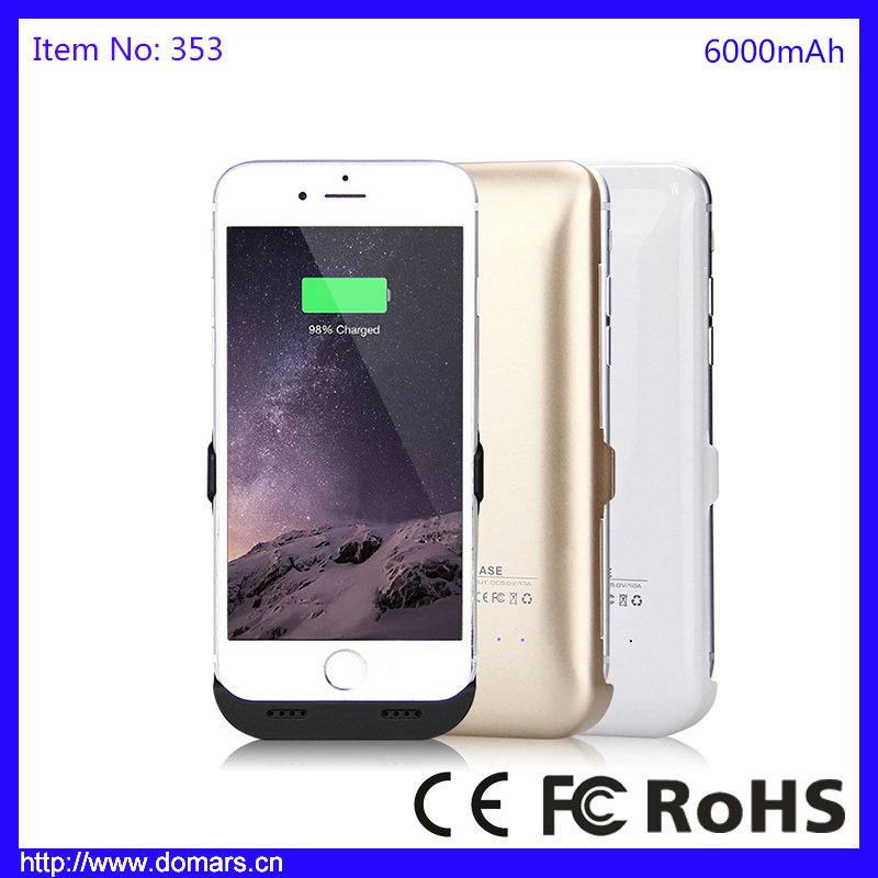 Domars Case Power Bank For iPhone 6 Cover Case Portable Golden 6000mAh Battery Charger
