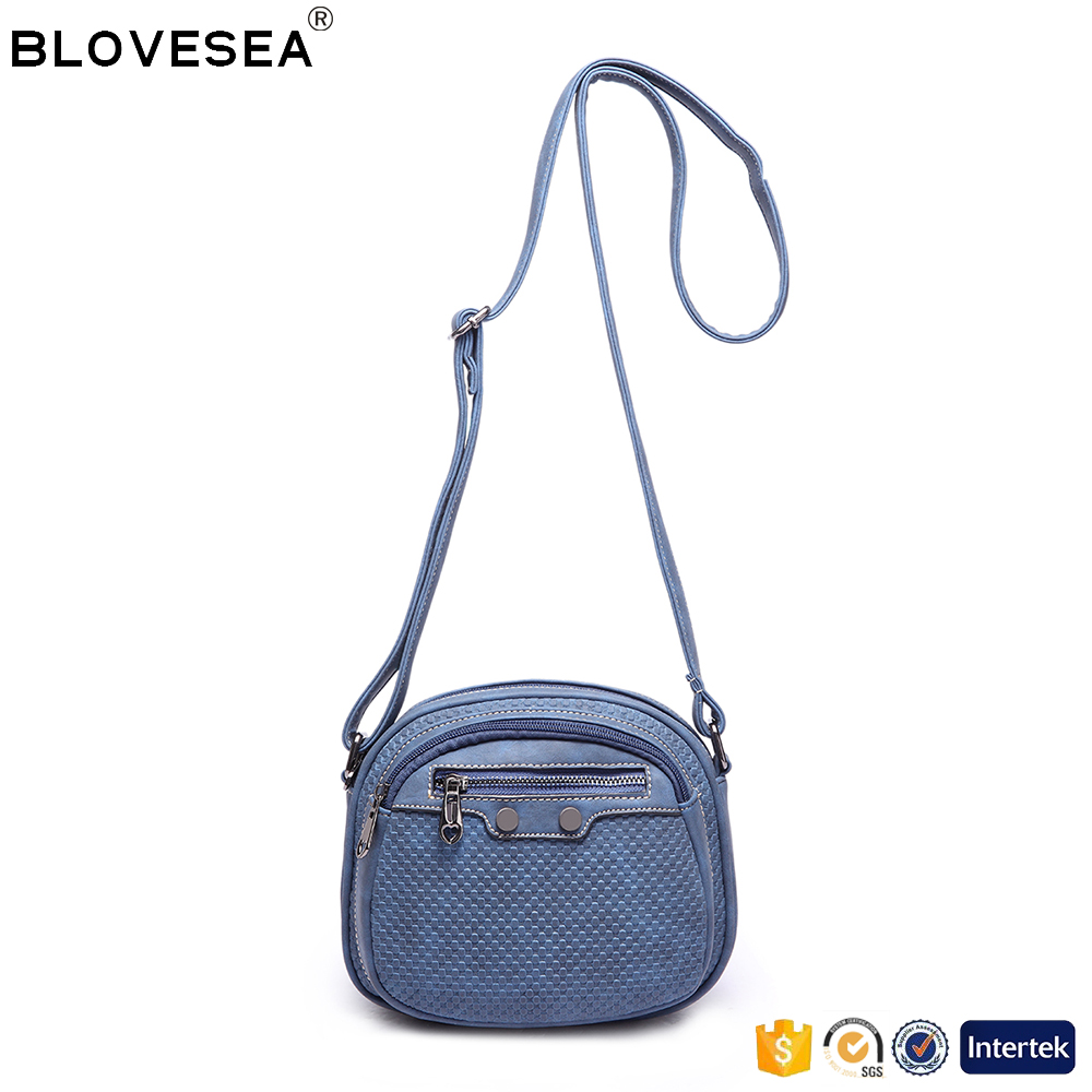 Sweet lady style small size multifunctional navy blue PU leather women stylish cross body bag