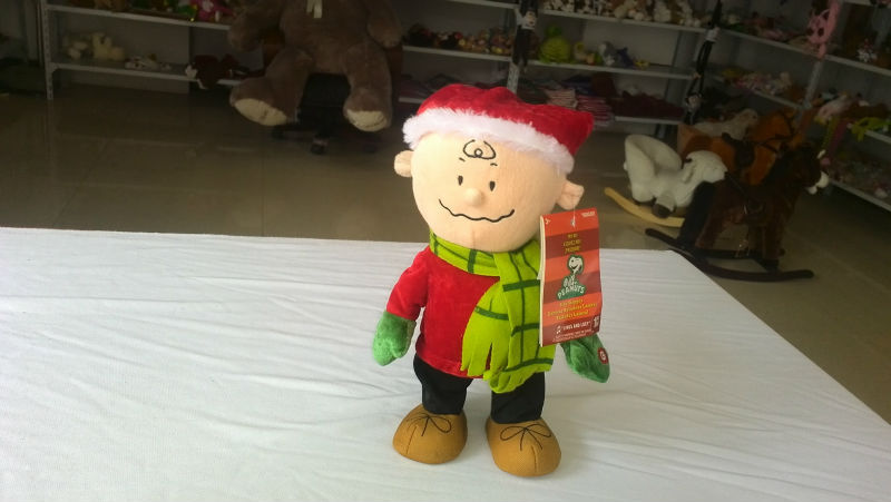 30cm promotional customized plush christmas battery-operated(electrical) walking Mr. CHARLIE toy with sound