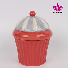 Cupcake ceramic pot with Lid cutest Jar wholesale,Ceramic promotional cupcake jar OEM welcome