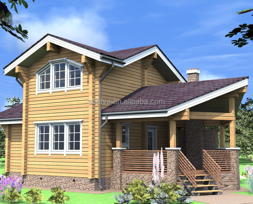 wooden building manufacturer of beautiful timber frame house with large terrace