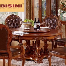 Bisini Antique Style Solid Wood Round Dining Table with Lazy Suzan