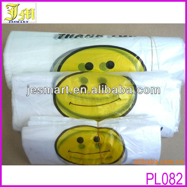 More Size Custom Cheap Smile Face Printed Recyclable Plastic Shopping Bag With Thank You