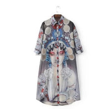 MONROO Chinese traditional prints fashion women blouse blouse pattern