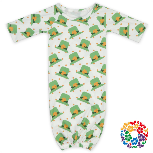 Lovely Caps Prints Baby Silk Pajamas For St. Patricks Day New Born One Piece Sleepwear Baby Pajamas Wholesale For 0-2 Years