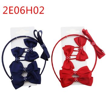 2018 student series ribbon hair bow clip with elastic band for girl hair accessories