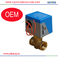 2 way/3 way fan coil unit motorized zone valve control arrangement set actuator and package for air conditioning