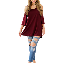 Casual Fashion Loose Cut Out Shoulder Fit Half Sleeve Lady Blouse & Top